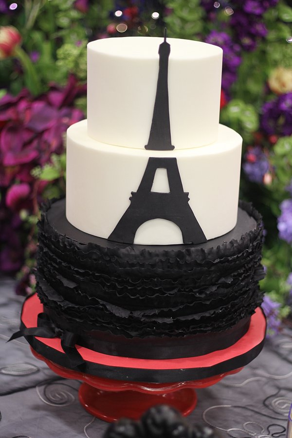 Paris Eiffel Tower Ruffles Wedding Cakes Missouri