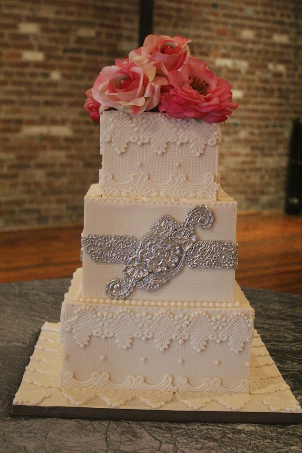 Lace Silver Decor 3 tier Wedding Cakes Missouri