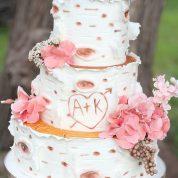 Rustic Log heart Wedding Cakes Missouri