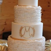 Gold Tipped Ruffles Elegant Wedding Cakes Missouri