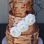 Log Rustic Flowers Wedding Cakes Missouri
