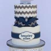 Elephant Chevron Stripes blue Baby Shower Cakes Springfield