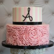 Pink Stripes Flowers Baby Shower Cakes Springfield