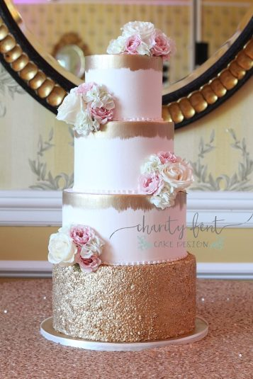 Elegant Blush Gold Wedding Cake Charity Fent Cake Design