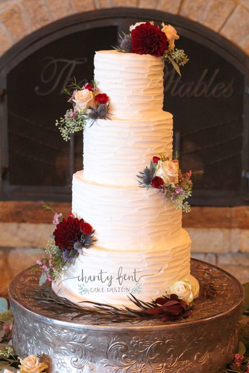 Beautiful 4 Tier With Maroon Floral 187 Charity Fent Cake Design