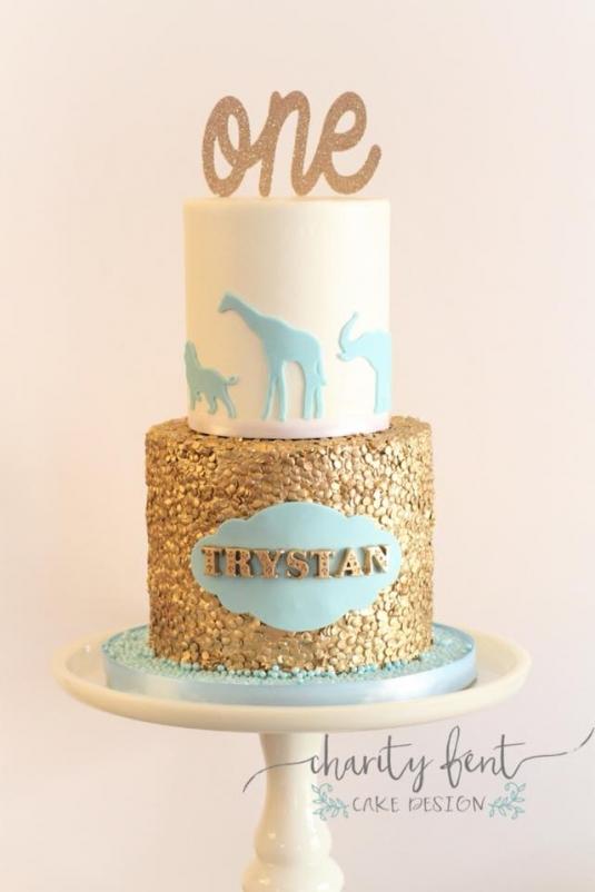 Baby Blue Gold Safari Theme 187 Charity Fent Cake Design
