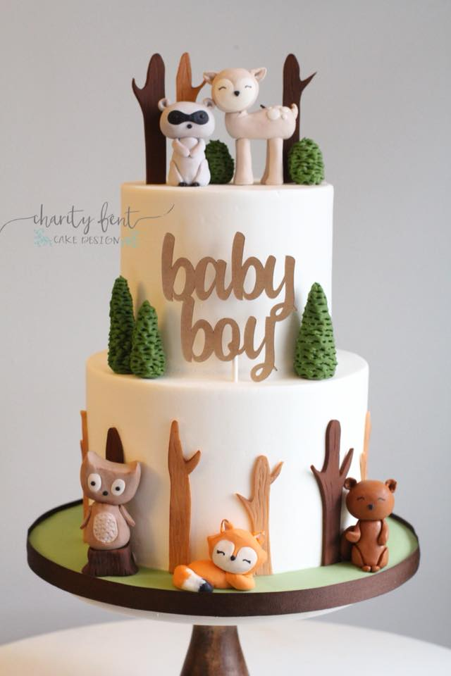 Woodland animal themed baby shower cake charity fent for Animal themed bathroom decor