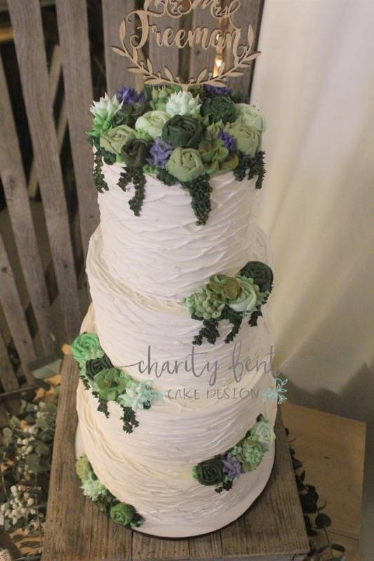 Buttercream cake with succulents