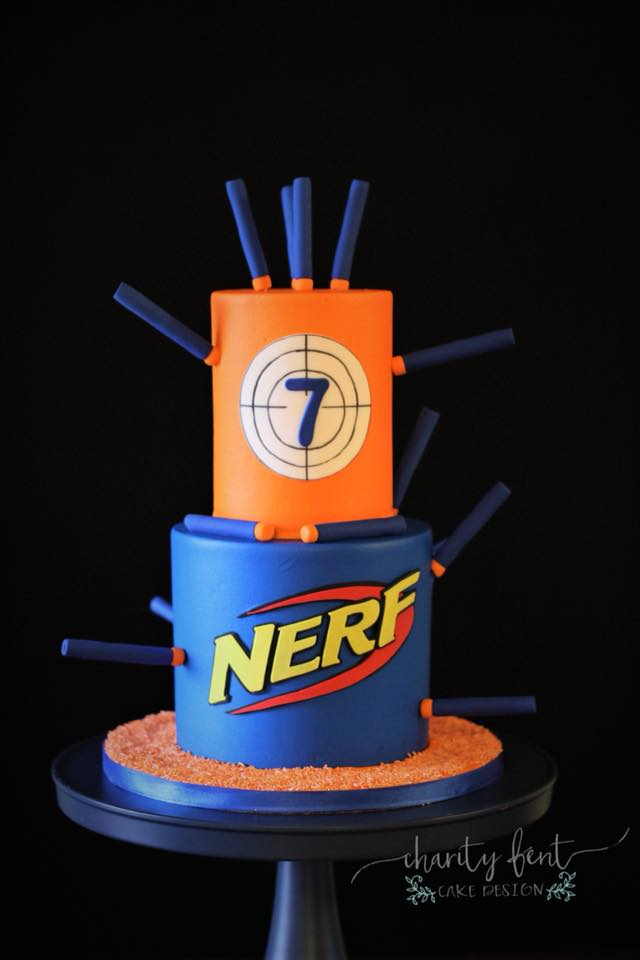 Outstanding Nerf Guns Theme Charity Fent Cake Design Personalised Birthday Cards Veneteletsinfo
