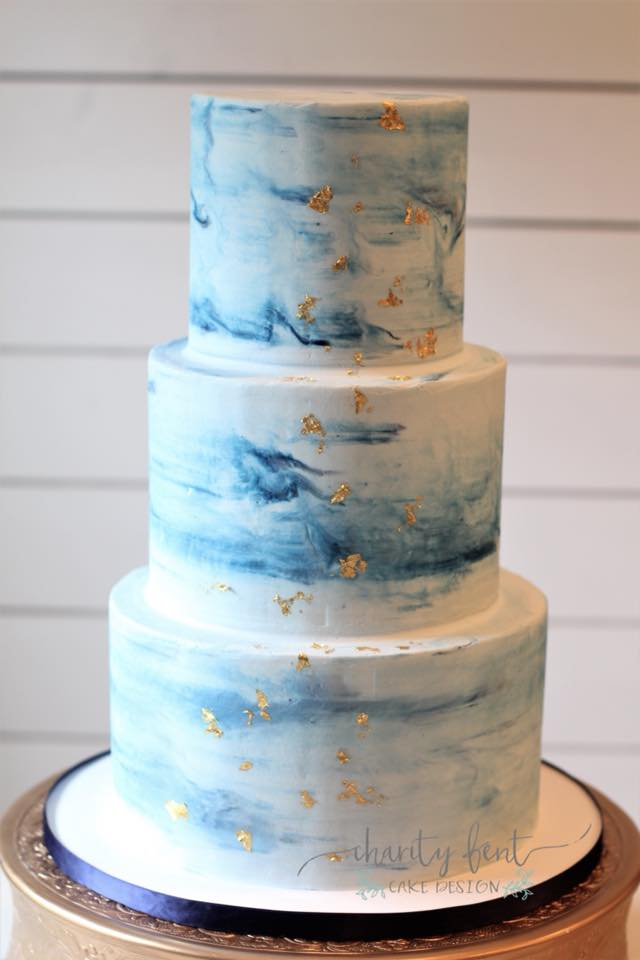 Marbled Navy Wedding Cake
