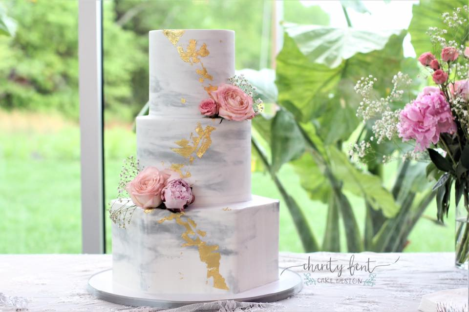 Modern Marbled Wedding Cake