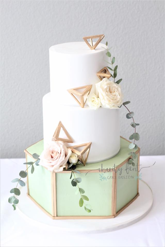 Hexagon Bottom and 3D Fondant Triangles
